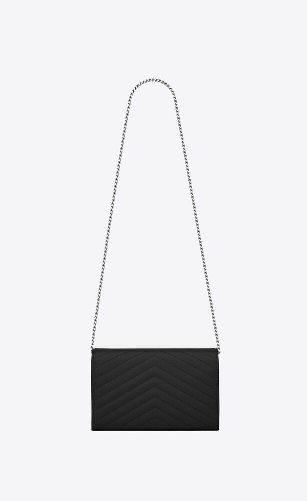 monogram chain wallet in grain de poudre embossed leather