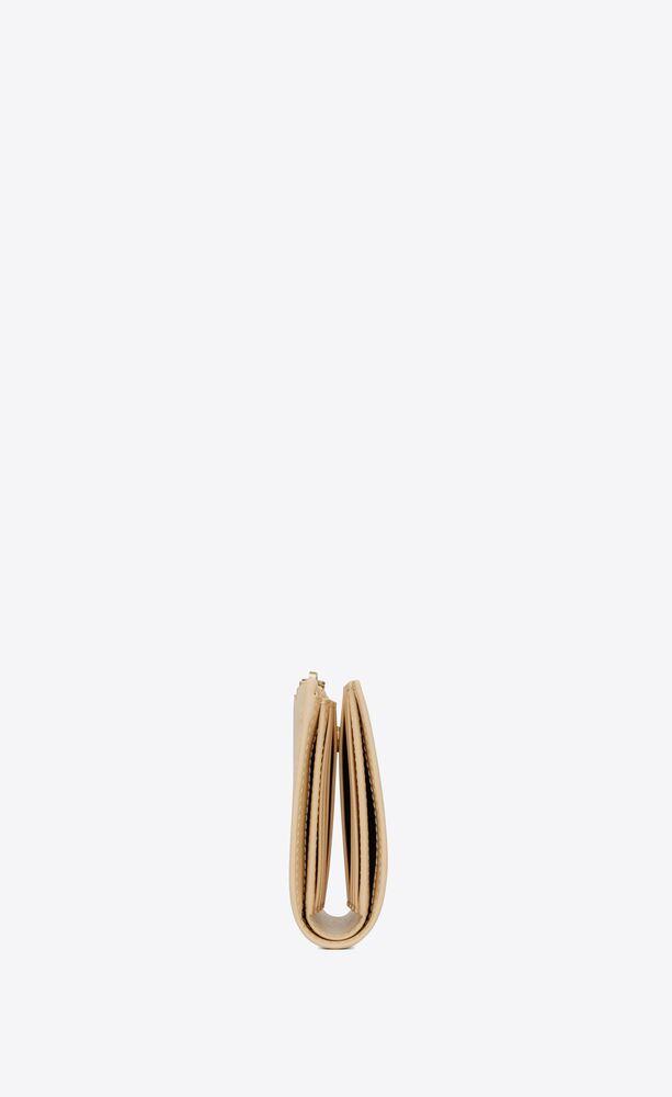 bi-fold zip wallet in matte leather