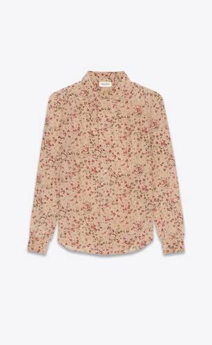lavallière-neck blouse in floral silk crepe de chine