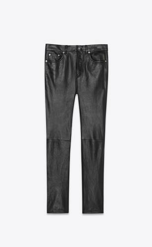cropped straight-cut leather pants in waxed lambskin