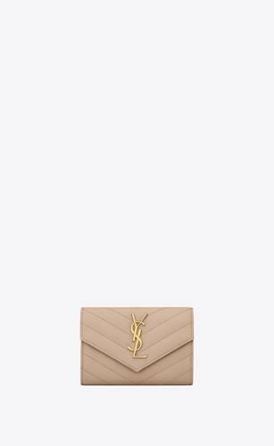 monogram envelope kleines, gestepptes lederportemonnaie mit grain-de-poudre-prägung