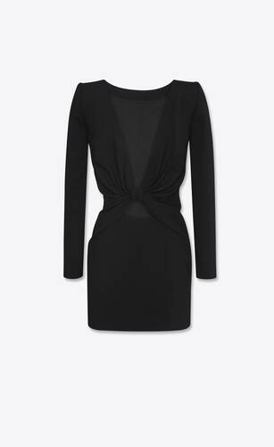 backless mini dress in sablé saint laurent