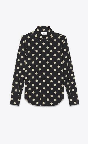 classic western shirt in dotted black enzyme washed denim