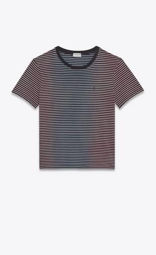 ジャージーの絞り染めストライプモノグラムtシャツ