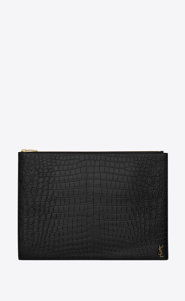 tiny monogram document holder in crocodile-embossed matte leather