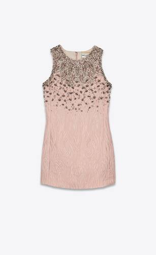mini dress in embroidered moiré brocade