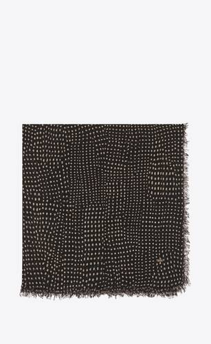 dotted large square scarf in wool etamine
