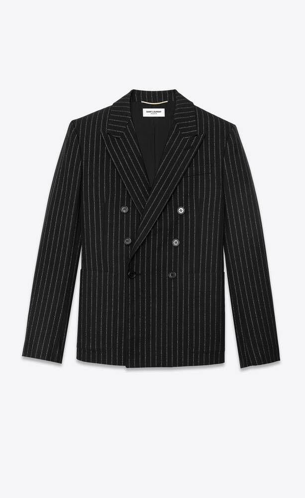 double-breasted long tailored jacket in lamé tennis stripes