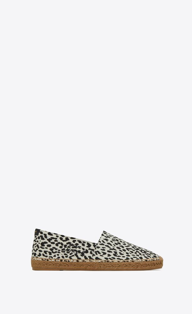 saint laurent embroidered espadrilles in babycat printed canvas