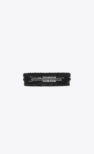 panzerketten-armband mit geflochtenen lederdetails