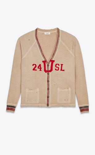 """""""24 u sl"""" destroyed collegiate cardigan in textured flannelette"""
