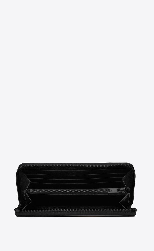 monogram zip-around wallet in crocodile-embossed leather