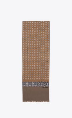 cashmere-print scarf in silk twill