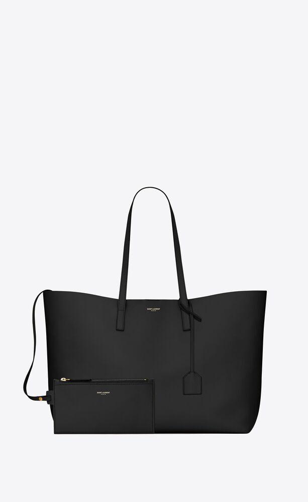 shopping saint laurent tote bag nera in pelle