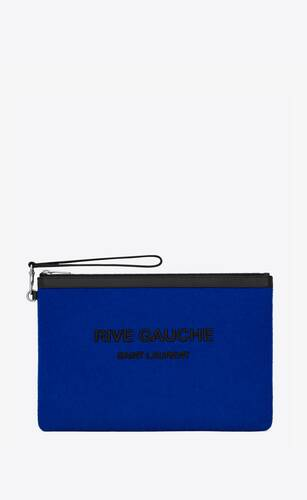 rive gauche zippered pouch in felt and smooth leather