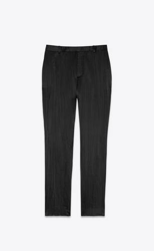 tailored pants in crinkle pleated satin