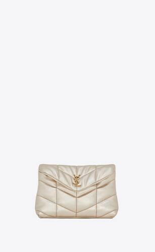 puffer small pouch in quilted lamé leather