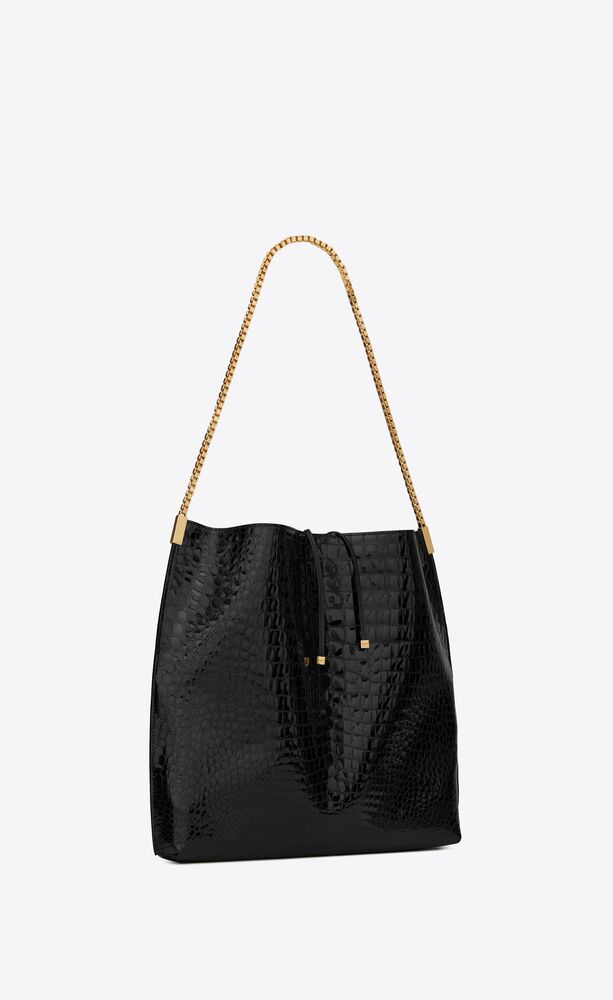 suzanne medium hobo bag in alligator-embossed patent leather