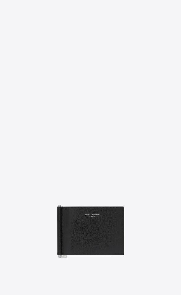 bill clip wallet in grain de poudre embossed leather