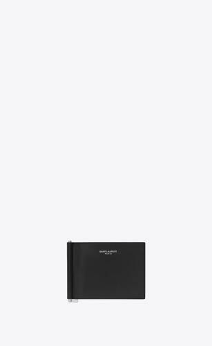 saint laurent paris portemonnaie mit geldscheinclip aus schwarzem leder mit struktur