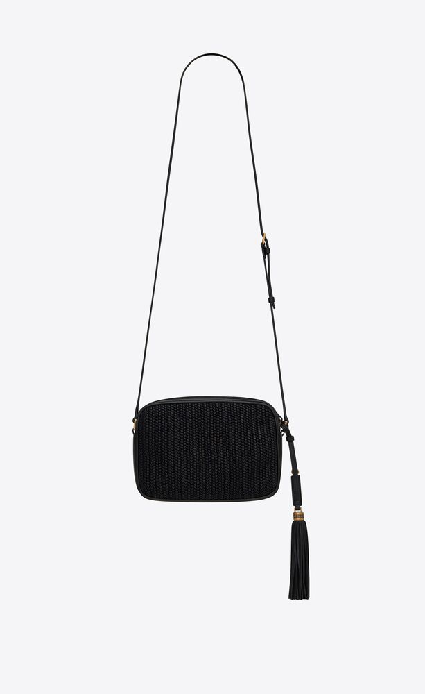 lou camera bag in raffia and vintage leather