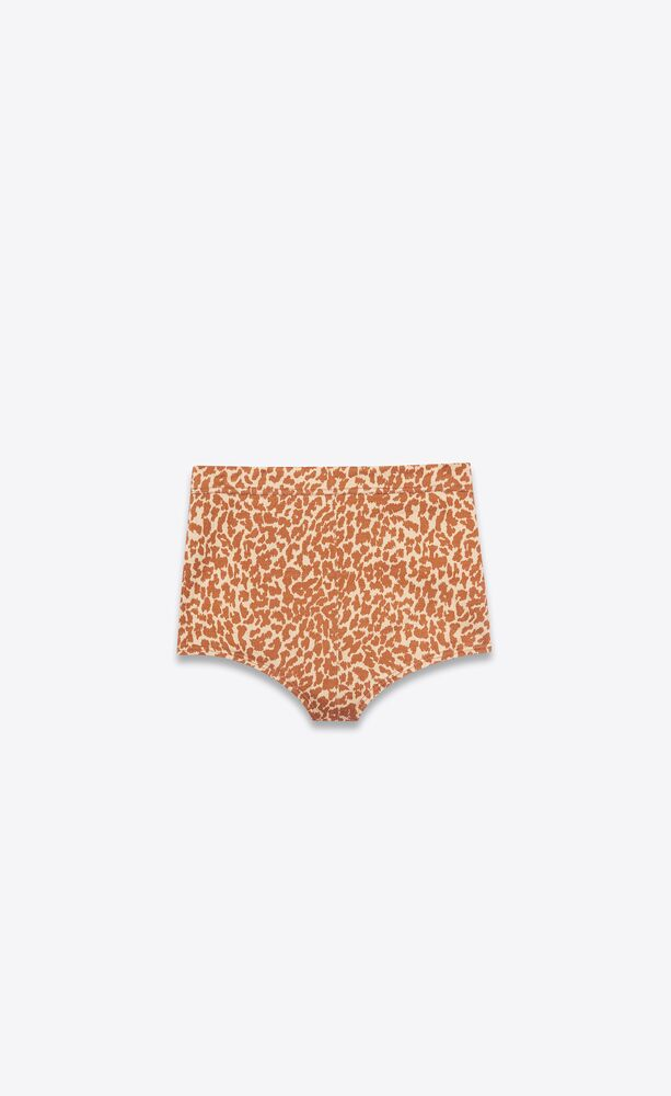 mini shorts in leopard-print crinkled viscose