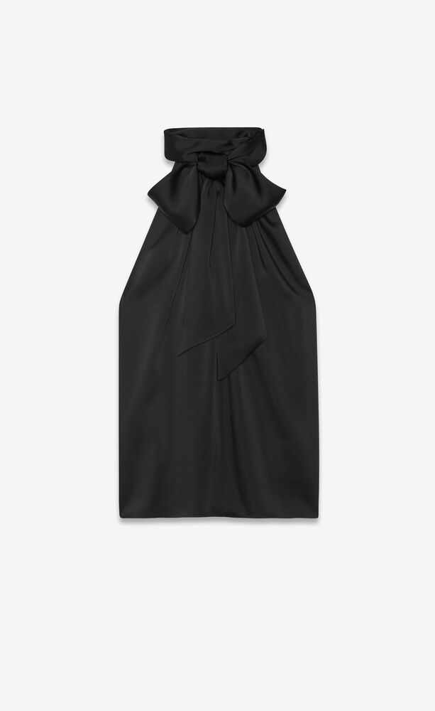 ärmellose bluse mit lavallière-ausschnitt aus schwerem charmeuse