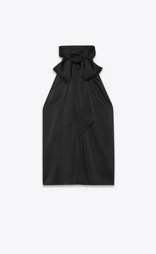 blouse sans manches à col lavallière en charmeuse épaisse
