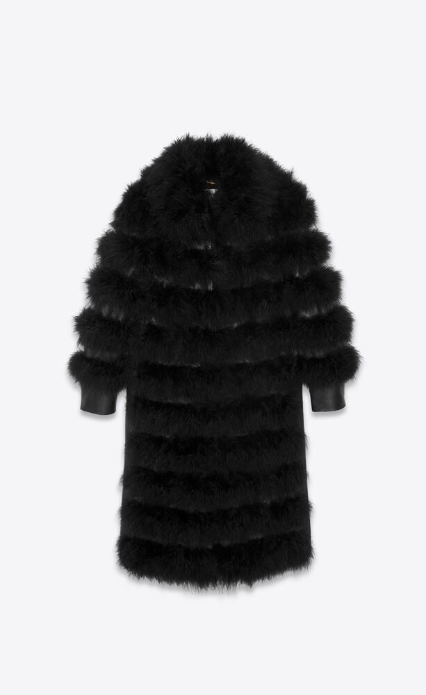 long coat in sheepskin and feathers