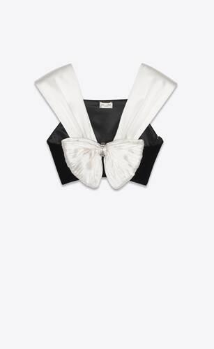 bow-tie crop top in cupro velvet