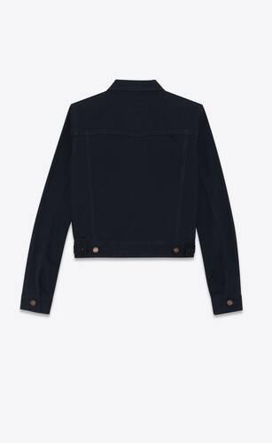jacket in worn black denim