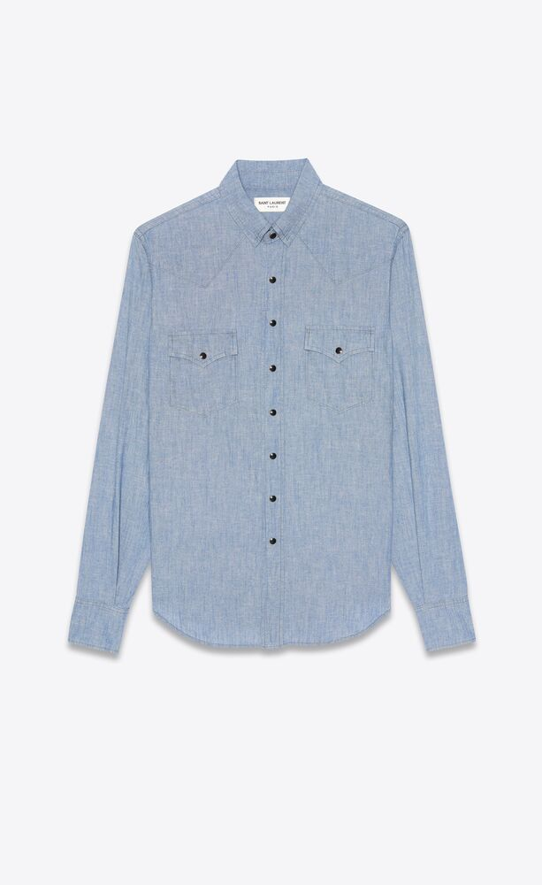 western shirt in dirty light blue stonewashed chambray