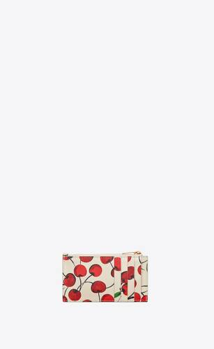 monogram fragments zip card case in cherry printed leather
