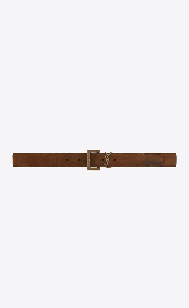 monogram belt in suede