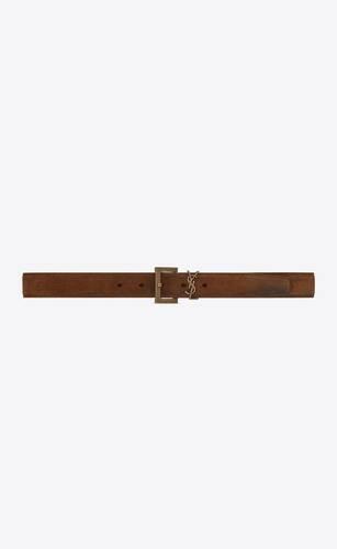 cinturón monograma con hebilla cuadrada de ante