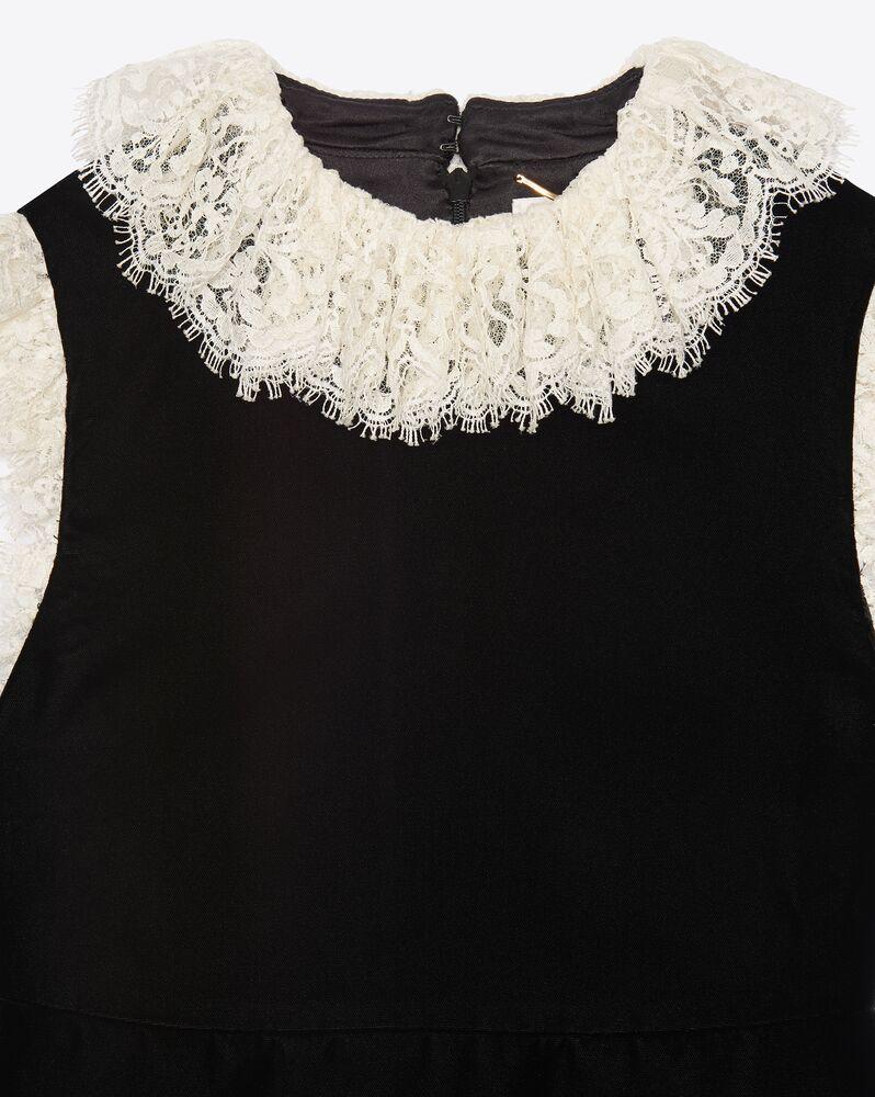 lace-trim mini dress in velvet