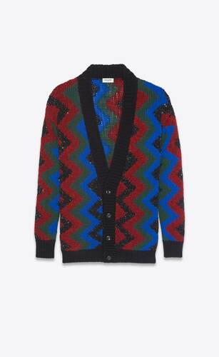 cardigan in zig zag jacquard with sequins