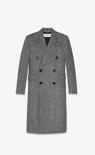 double-breasted long coat in herringbone wool