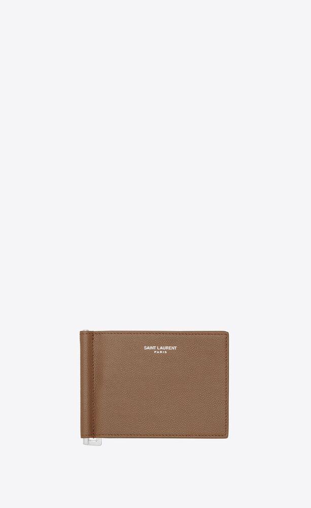 bill clip wallet in grain de poudre-embossed leather