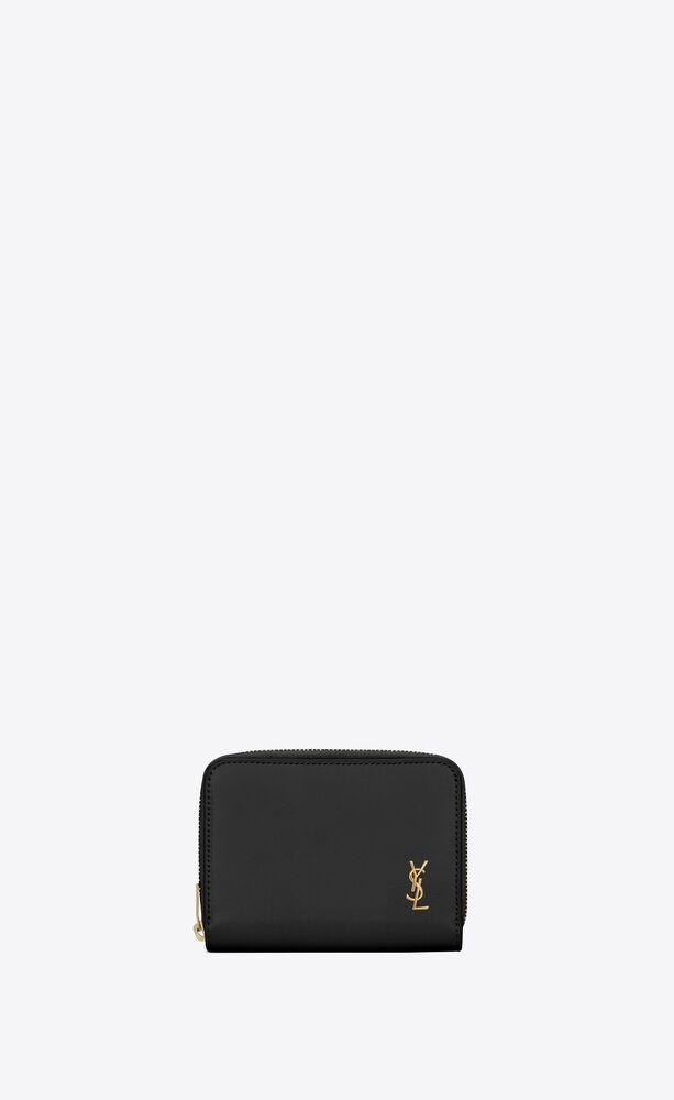 tiny monogram kompaktes portemonnaie mit reißverschluss aus glattleder