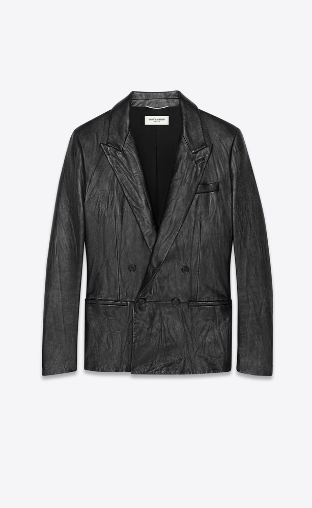double-breasted jacket in vintage crinkled leather
