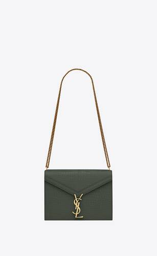cassandra monogram clasp bag in crocodile-embossed shiny leather