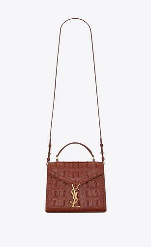 cassandra mini top handle bag in caiman-embossed leather