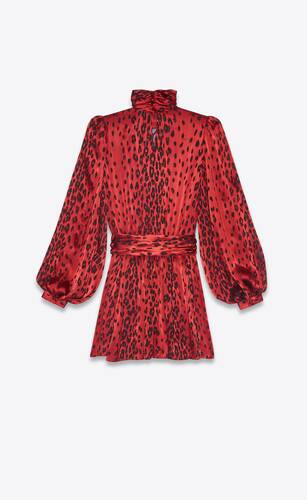mini dress in leopard-print dévoré silk satin