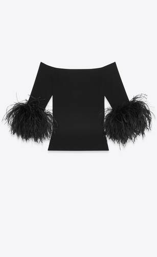 ribbed top in wool and ostrich feathers