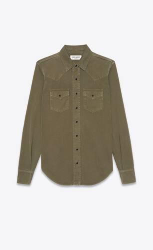 western shirt in khaki stonewashed denim