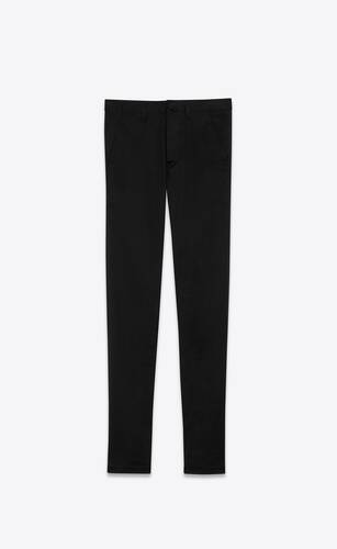 chino pants in black raw stretch gabardine