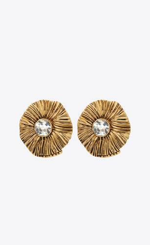 héritage radiating sun earrings in crystal and metal
