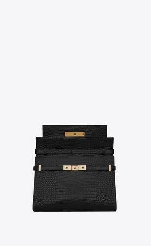 manhattan shoulder bag in crocodile-embossed shiny leather