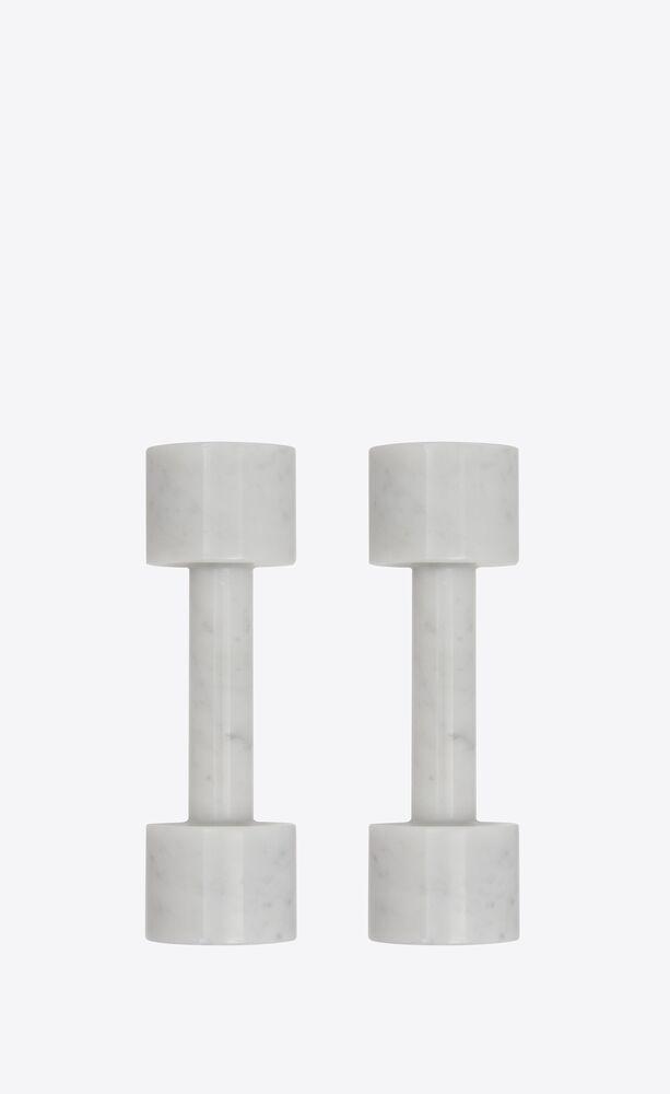 dumbbells in marble